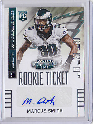 2014 Panini Contenders #157 Marcus Smith SP RC Auto Seat Variation Eagles