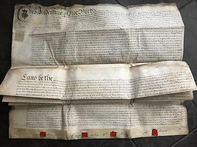 Large 5 page 1769 Vellum Indenture Wisbech St Peter Isle of Ely Cambridgeshire