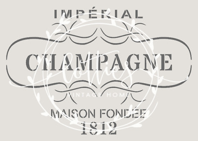 STENCIL A5 VINTAGE CHAMPAGNE LABEL Furniture Wine Crate French 190 Mylar