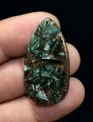 Unusual !  24.60 Cts. Natural Copper Seraphinite Cab For Sterling Silver Pendant