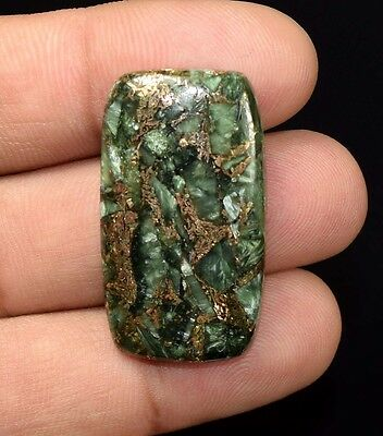 Top Grade  35.85 Cts. Natural Copper Seraphinite Cab For Sterling Silver Jewelry