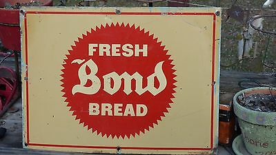 Vintage 1940's Bond Bread Heavy Metal Advertising Sign- Stout Sign Co.-Bakery