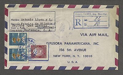 Guatemala 1966 Registered Air Mail Cover Chimaltenango to New York