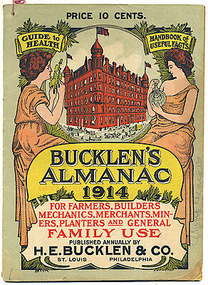 1914 BUCKLEN'S ALMANAC Color Lithographed Covers DR KING'S ELECTRIC BITTERS