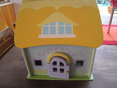 Wooden Dolls House with Furniture and people