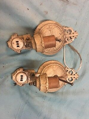 Matched Pair Of Iron Sconces 1920's For Restoration