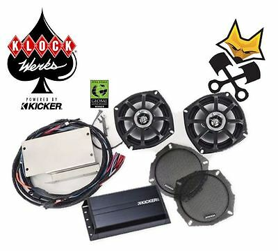 Klock Werks Kicker Audio Speaker & Amp Fit Kit Kawasaki 2009-Up Voyager Vaquero