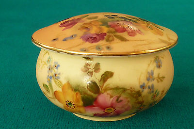 Lovely Royal Worcester Blush Ivory Hand Painted Flowers Lidded Pot