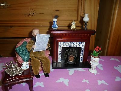Dolls-House-1/12-Lounge Bundle Fireplace gentleman reading arm chair table etc
