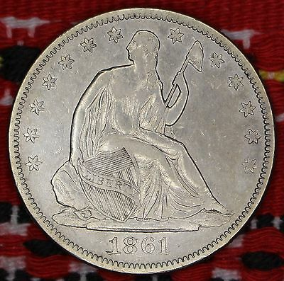 Seated Liberty Half Dollar (Silber) USA 1861 mit Zertifikat