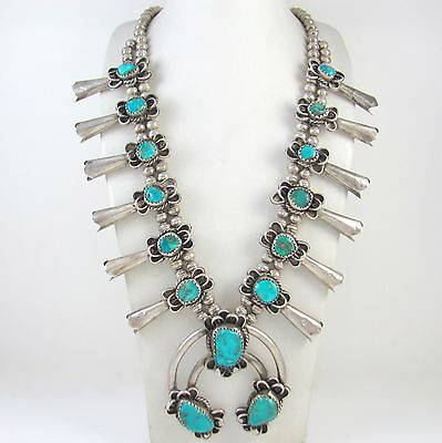 Old Pawn Navajo Sterling SIlver & Turquoise Squash Blossom Necklace │RS AXX