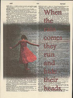 Beatles Rain Girl Red Dress Altered Art Print Upcycled Vintage Dictionary Page