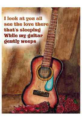 Beatles Guitar Gently Weeps Altered Art Print Upcycled Vintage Dictionary Page