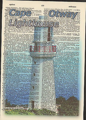 Cape Otway Lighthouse Australia Altered Art Print Upcycled Vintage Dictionary