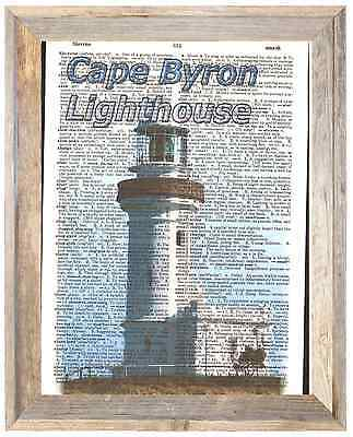 Cape Byron Lighthouse Australia Altered Art Print Upcycled Vintage Dictionary