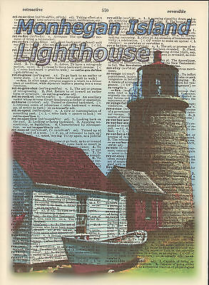 Monhegan Island Lighthouse Maine Altered Art Print Upcycled Vintage Dictionary