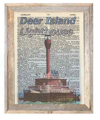 Deer Island Lighthouse Boston Mass Altered Art Print Upcycled Vintage Dictionary