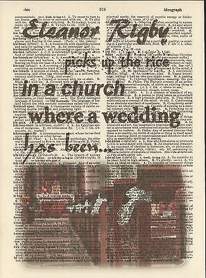 Eleanor Rigby Wedding Beatles Altered Art Print Upcycled Vintage Dictionary Page