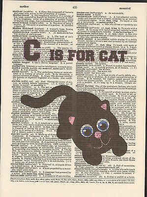 C is for Cat Black Alphabet Altered Art Print Upcycled Vintage Dictionary Page