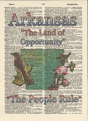 Arkansas State Map Symbols Altered Art Print Upcycled Vintage Dictionary Page