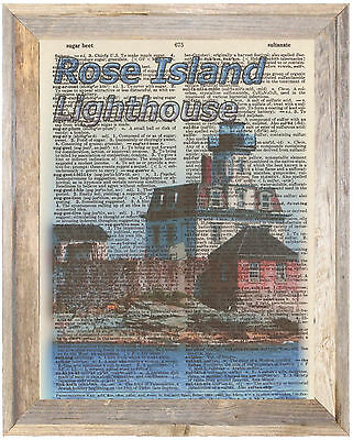 Rose Island Lighthouse Rhode Altered Art Print Upcycled Vintage Dictionary Page