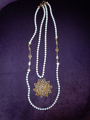 Vintage Gold Ivory Color Beads Necklace