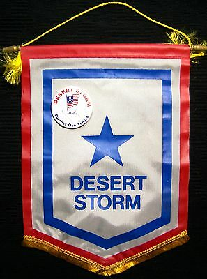 """Operation Desert Storm Service Flag with """"Support our Troops"""" Button - USA!"""