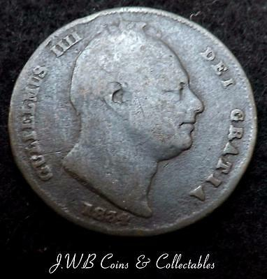 1834 William IV Farthing Coin Great Britain - Ref; T/M