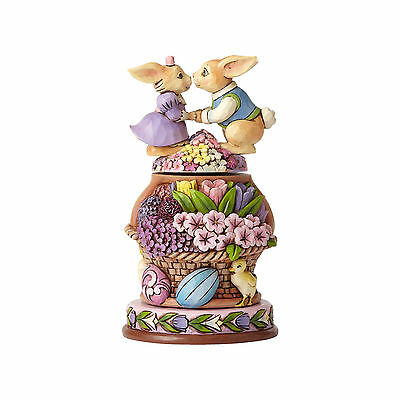 Jim Shore Easter Bunnies With Rotatable Flowers New 2017 4051546