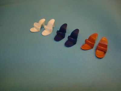 Brown White Navy Reproduction open Toe Japan Pumps Shoes for VINTAGE Barbie doll