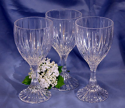 Mikasa Park Lane Crystal SET OF 3 FOOTED WATER GOBLETS GLASSES Ex Cond