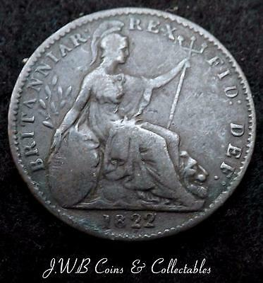 1822 George IV Farthing Coin Great Britain - Ref; T/M,,