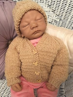 HAND KNITTED MICKEY MOUSE BUTTON BABY BOY OR GIRL CARDIGAN AND HAT 0-3 Months