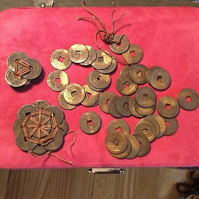 Vintage Bronze or Brass Chinese Imperial Coin Lot Unresearched
