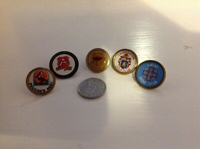 5 X Vintage Golf Ball Markers