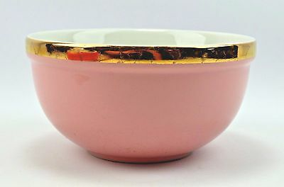 Vintage Halls Superior Quality Kitchenware Pink Gold Rimmed Bowl Made in USA