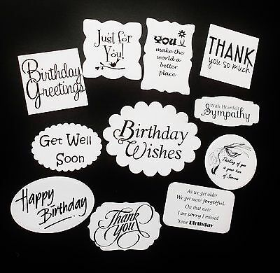Mixed Sentiment Die Cuts X 11 - Assorted Shapes And Sizes With Various Edges