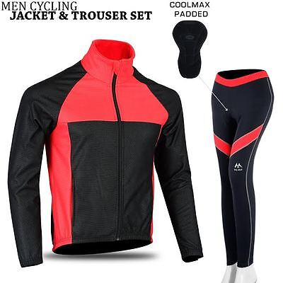 Mens Winter Fleece Jacket Cycling Thermal  Windstopper & CoolMax Padded Trousers