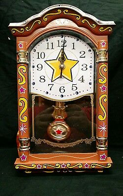 Hand Painted Circus Clock,gypsy,carnival,amusement,game Room,man Cave,sideshow