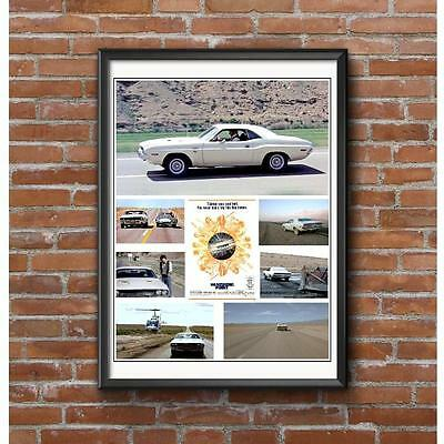 Vanishing Point Movie Tribute Poster - White Dodge Challenger Mopar Muscle Car
