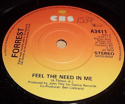 """Forrest Feel The Need In Me / I Just Want To Love You  7"""" Vinyl"""