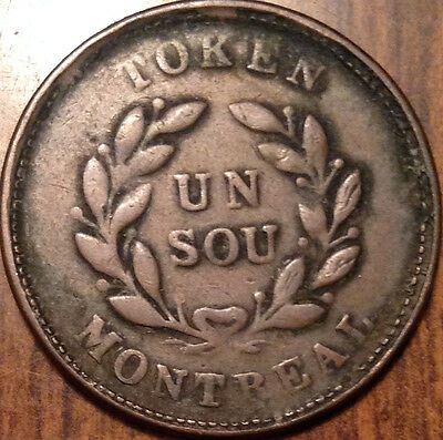 "1835-1838 ""br.#674"" Lower Canada Bank Of Montreal Un Sou Scarce Coin !"