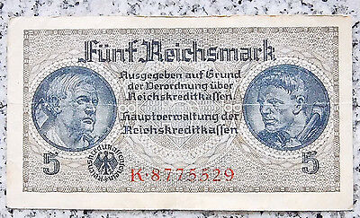 RAR GERMANY Banknote 5 REICHSMARK 1939-1945 Money Bill SWASTIKA THIRD REICH Nazi
