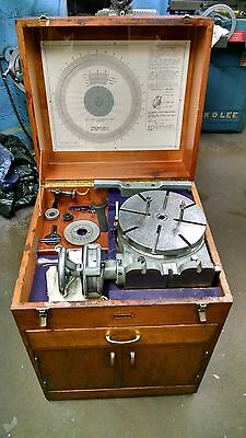 Very Nice Condition Moore 10.875 Precision Type Rotary Table w/ Mahogany Cabinet