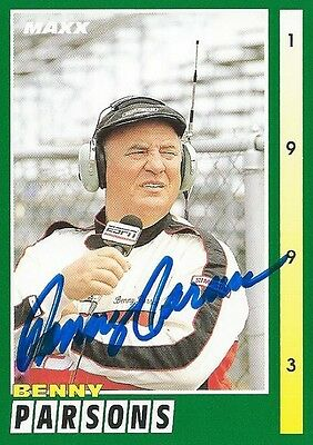 Benny Parsons Autographed Signed 1993 Maxx Racing Nascar Photo Trading Card #207