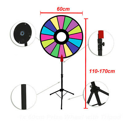 60cm Editable Dry Erase Prize Wheel Spin Win Fortune Spinning Stand Game Party
