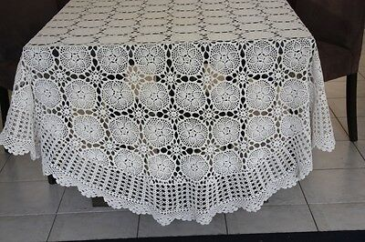 Vintage Large Cream Oval Crocheted TABLECLOTH 268x178cm #83