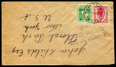 1915 Nelson New Zealand Cancel on Military Censor Cover to USA w/ War Stamp