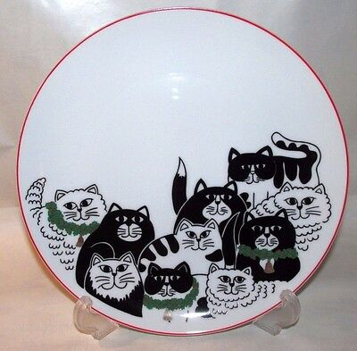 Vintage New Black & White Christmas Cats Porcelain Plate Made in Japan Cat