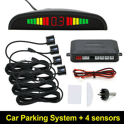 Car Reverse Parking Sensor Rear 4 Sendors LCD Display Audio Buzzer Alarm Kit